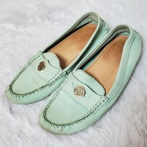 CCoach mint green leather smoking slippers flats